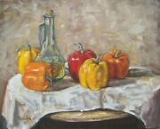 Oil Bottle With 5 Peppers Jeffrey Randolph Bond Still Life On Canvas 16x20