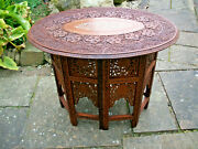 Superb Octagonal Anglo/indian Folding Side Table With Oval Inlaid Top