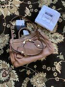 Moschino Couture Jeremy Scott Ancient Brown Leather B-pocket Handbag Large
