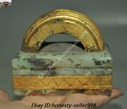 Antique Old Chinese Dynasty Palace Hetian Jade 24k Gold Gilt Seal Stamp Signet