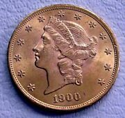 1900 Usa 20 Dollars Gold Eagle Coin Double Eagle Unc Superb Luster