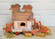 Large Vintage Folk Art Wood Toy Noah's Ark Pull Toy With 16 Figures 24