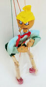 Vintage Professional Quality Caved Wood Pinocchio Marionette 16