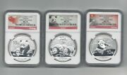 Lot Of 3 - 2012, 2013, 2014 China Silver Panda Ngc Ms70 Early And First Release