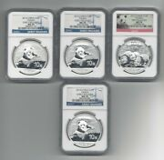 Lot Of 4 - 1- 2013 3- 2014 China Silver Panda Ngc Ms70 Early And First Release