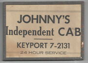Antique Sign Johnnyand039s Independent Cab Keyport Nj 7w X 5h Deco 1930and039s