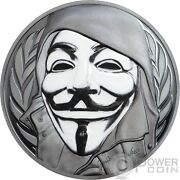 Guy Fawkes Mask Anonymous V For Vendetta 1 Oz Silver Coin 5 Cook Islands 2016