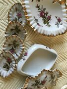 Decorative Vintage Dishes With Rose Pattern And Gold Trim.