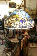 Spectacular Stained Glass Fishing Themed Dual Bulb Floor Lamp 63 T, 20 D