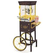 Popcorn Machine Maker Cart Stainless Steel Commercial Theater Vintage 8 Oz Black