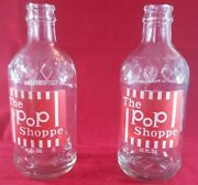 Collectible Vintage 1970's The Pop Shoppe 10 Oz. Diamond Embossed Glass Bottle