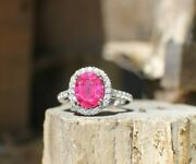 Solid 14k White Gold Levian Pave Halo Ring Ruby And Diamond Sz 6