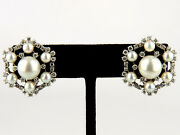 Ladies Estate Piece Vintage 1950and039s 14k Gold Pearl And Diamond Earrings