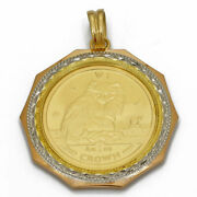 Coin Pendant K24 Gold Cat Turkish Isle Of Man 1/5 Oz 1995 Pendant Top From Japan
