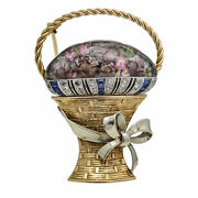 Vintage Diamond Sapphire Flower Bouquet Basket With Bow Brooch In 14k Gold