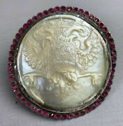 Antique 18th Century Imperial Russian Mother Pearl Eagle Amethyst Silver Buckle