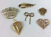 Vintage To Now Gold Tone Clear Rhinestone Brooch Pins Crown Heart Bow Lot Of 6