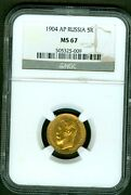 1904 Russian Ap Gold Coin 5 Rouble Ruble Roubles Ngc Ms67 Russia 984