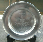 Vintage Handcrafted John Somers Brazil Js X Mg Pewter 9 1/2 Engraved Plate Mint