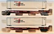 Mth Premier O Scale 20-95104 Cp Rail 2-car Spine Car Set With 48and039 Containers