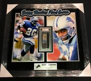 Barry Sanders Detroit Lions Final '98 Game Ticket Psa Authenticated Framed 32x29
