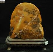 China Natural Tianhuang Shoushan Stone Carved House Tree Old Man Shanzi Mountain