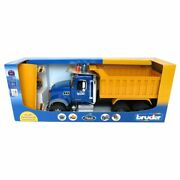 1/16th Bruder Mack Granite Dump Truck With Snow Plow And Flashing Lights 02825