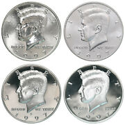1997 P D S S Kennedy Half Dollar Year Set Silver And Clad Proof And Bu Us 4 Coin Lot