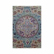 4and039x6and039 Sari Silk And Textured Wool Colorful Maharaja Hand Knotted Rug G49422