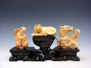 3 Japanese Boxwood Hand Carved Rabbit Tiger Dragon Netsuke W/ Wooden Stand A3