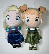 Preowned- Disney Frozen Elsa And Anna 12andrdquo Soft Plush Figures
