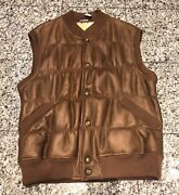 Sulka Brown Leather Shearling Fur Lined Buttoned Menandrsquos Vest