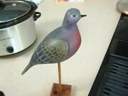 My Hand Carved And Painted Dove Decoy Decoy..lifesizeandnbsp 11 With Cherry Wood Stand