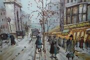 E Signed Bill Wolfe Small Painting Art People Street Scene - No Frame