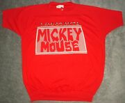 Vtg 80s Mickey Mouse T Shirt Mens Large Walt Disney Wear Red 5050 Nos 90s Usa
