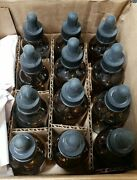 New 12- Round Amber Glass Bottles With Droppers 2 Oz