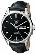 Tag Heuer Menand039s War201a.fc6266 And039carreraand039 Automatic Black Leather Watch