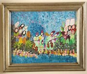 Estate Vintage Old Judaica Painting Holiday Folk Art Signed By Harry Lieberman