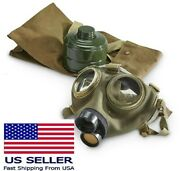 Vintage Child Size Small Military Full Face Gas Mask M75 W 40mm Filter And Bag