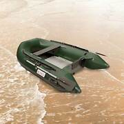 Aleko Fishing Inflatable 8and039 4 Green Color Pontoon Boat With Aluminum Floor
