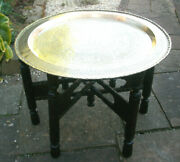 Antique Chinese Carved Folding Side Table With Brass Top