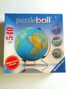 Sealed Puzzleball Globe Ravensburger With Stand 540 Piece 3d Jigsaw New Usa