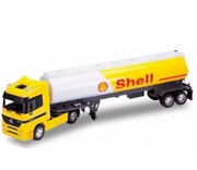 132 Mercedes Benz Actros Oil Tanker Shell Cart Yellow Welly Collection Truck