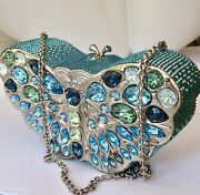 Judith Leiber Butterfly Crystal Minaudiere Bag Jl Box Mint Condition