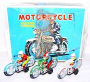 3x Modern Toys Japan Police And Racing Motorcycle 10cm Tin Friction Toy Mib `68