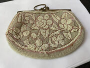 Antique Vintage French Micro Bead Beaded Evening Bag Purse Floral Beige Neutral