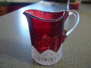 Ruby Red Glass Pitcher Creamer Compliments Ml Zeigler Dallastown Pa Advertising