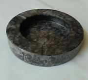 Chariot Horse Drawn Carriage Black Grey Etched Pattern Marble Stone Ashtray