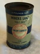Vintage Union Carbide 2 Pound Can For Half Inch Miners Lamp - Old Full Can