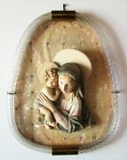 Madonna With Child Frame Torchon Glass Murano Years 50 - 15x18 7/8in
